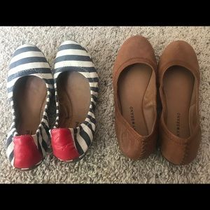 Two pairs of lucky foldable Emmie Flats 7.5